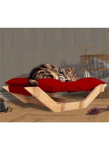 Woodesk Dost Masif Ahşap Kırmızı Renk Kedi ve Köpek Yatağı Renkli